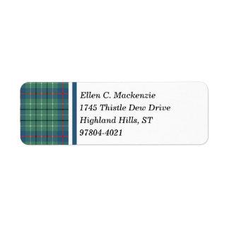 Clan Duncan Ancient Tartan Custom Return Address Label