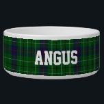 """Clan Duncan Custom Tartan Plaid Pet Bowl<br><div class=""""desc"""">Traditional green,  blue,  red,  white,  and black clan Duncan tartan plaid around this white ceramic dog bowl.  Custom white text is ready to personalize with your pet&#39;s name.  Makes a great gift idea to a new dog owner.</div>"""