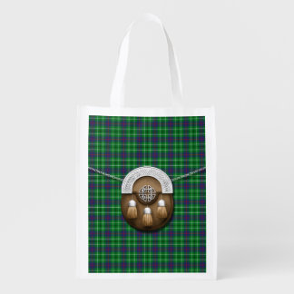 Clan Duncan Tartan And Sporran Reusable Grocery Bags