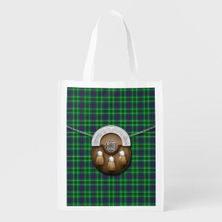 Clan Duncan Tartan And Sporran Grocery Bag