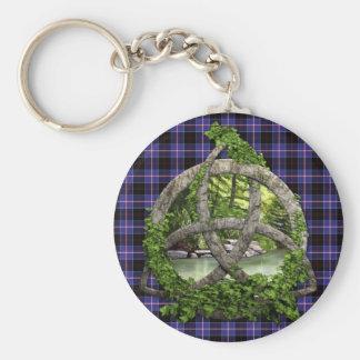 Clan Dunlap Tartan Celtic Trinity Basic Round Button Keychain