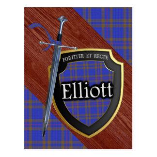 Clan Elliott Tartan Sword & Shield Postcard