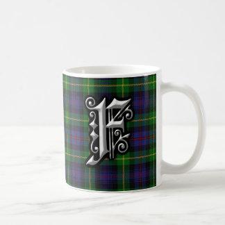 Clan Farquharson Letter F Monogram Tartan Coffee Mug