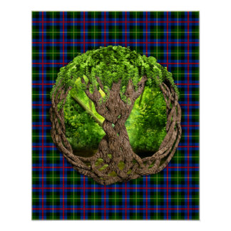 Clan Farquharson Tartan And Celtic Tree Of Life Poster