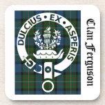 Clan Ferguson Crest Tartan Drink Coaster