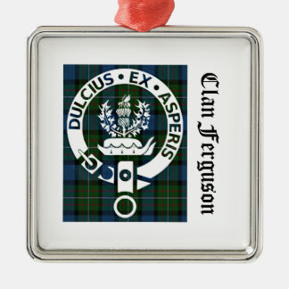 Clan Ferguson Crest Tartan Metal Ornament