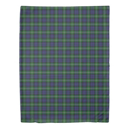 Clan Forbes Scottish Accents Blue Green Tartan Duvet Cover