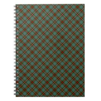 Clan Fraser Brown and Green Hunting Tartan Spiral Notebook
