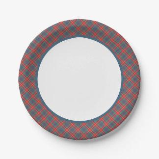 Clan Fraser de las placas de papel del tartán Plato De Papel De 7 Pulgadas