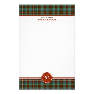 Clan Fraser Hunting Tartan Monogram Stationery