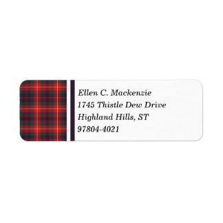 Clan Fraser of Lovat Modern Tartan Return Address Labels