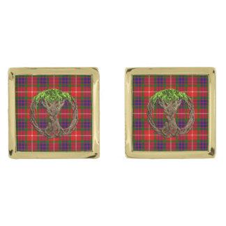 Clan Fraser Tartan And Celtic Tree Of Life Cufflinks