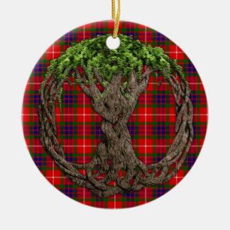 Clan Fraser Tartan And Celtic Tree Of Life Double-Sided Ceramic Round Christmas Ornament