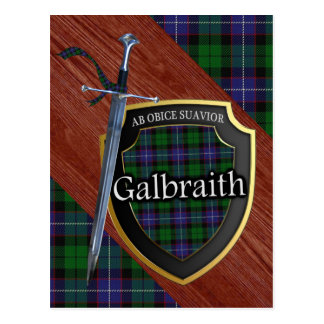 Clan Galbraith Tartan Sword & Shield Postcard
