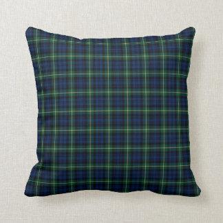 Clan Gordon Blue and Green Scottish Tartan Throw Pillow