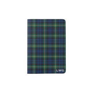 Clan Gordon Blue and Green Tartan Monogram Passport Holder