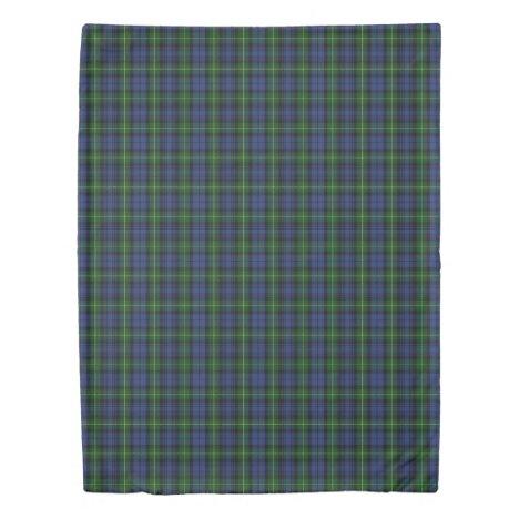 Clan Gordon Scottish Accents Blue Green Tartan Duvet Cover