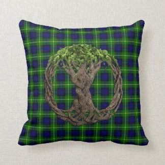 Clan Gordon Tartan And Celtic Tree Of Life Throw Pillow