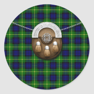 Clan Gordon Tartan And Sporran Classic Round Sticker