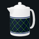 "Clan Gordon Tartan Blue and Green Scottish Plaid Teapot<br><div class=""desc"">Teapot with the tartan for Clan Gordon and its septs,  including Addison and Cullen. Navy blue and forest green Scottish plaid pattern from 1950,  with bright yellow accents. Choose from two sizes. Matching mugs and teacups available.</div>"