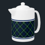 """Clan Gordon Tartan Blue and Green Scottish Plaid Teapot<br><div class=""""desc"""">Teapot with the tartan for Clan Gordon and its septs,  including Addison and Cullen. Navy blue and forest green Scottish plaid pattern from 1950,  with bright yellow accents. Choose from two sizes. Matching mugs and teacups available.</div>"""