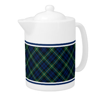 Clan Gordon Tartan Blue and Green Scottish Plaid Teapot