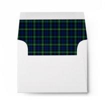 Clan Gordon Tartan Dark Blue and Green Plaid Envelope