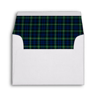 Clan Gordon Tartan Dark Blue and Green Plaid Envelope