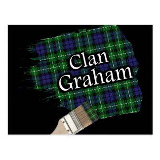 Clan Graham Scottish Tartan Paint Brush Postcard