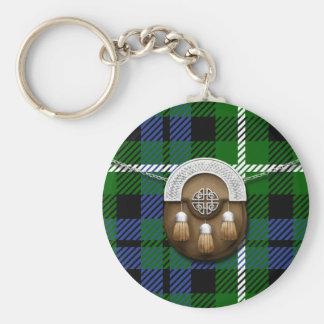 Clan Graham Tartan And Sporran Basic Round Button Keychain