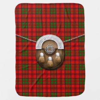 Clan Grant Tartan And Sporran Receiving Blanket