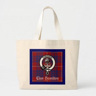 Clan Hamilton Crest & Tartan Jumbo Tote Bag