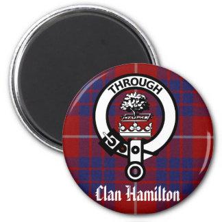 Clan Hamilton Crest & Tartan Refrigerator Magnet