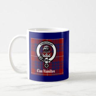 Clan Hamilton Crest & Tartan Classic White Coffee Mug