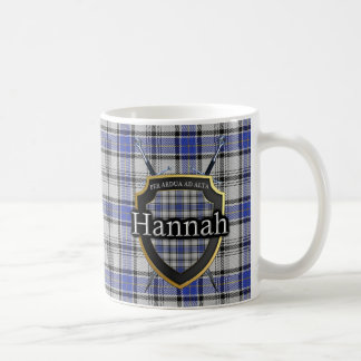 Clan Hannah Hannay Tartan Shield Crossed Swords Coffee Mug