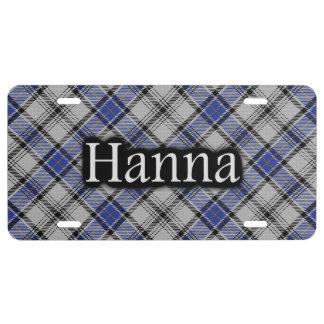 Clan Hannay Hanna Tartan License Plate
