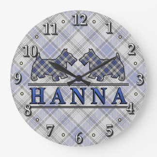 Clan Hannay Hanna Tartan Scottie Dogs Clock