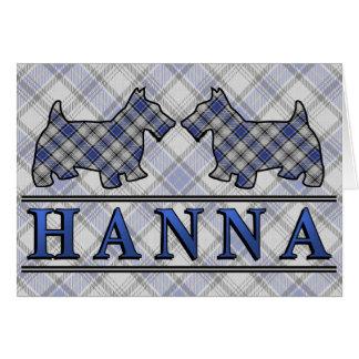 Clan Hannay Hanna Tartan Scottie Dogs Greeting Card