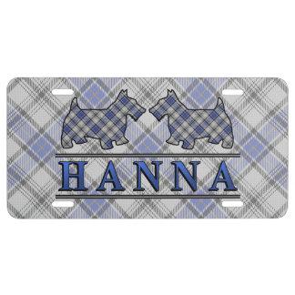 Clan Hannay Hanna Tartan Scottie Dogs License Plate