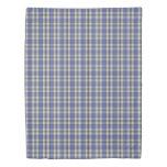 Clan Hannay Scottish Accents White Blue Tartan Duvet Cover