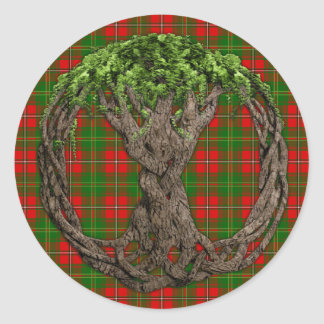 Clan Hay Tartan And Celtic Tree Of Life Round Stickers