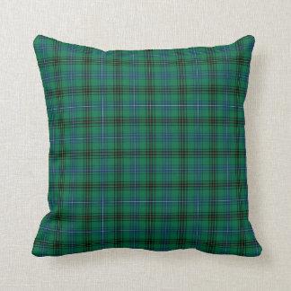 Clan Henderson Bright Green and Blue Tartan Throw Pillow