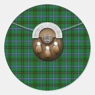 Clan Henderson Tartan And Sporran Round Stickers