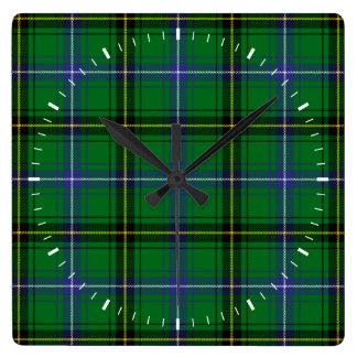 Clan Henderson Tartan Square Wall Clock