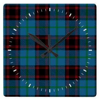 Clan Home Tartan Square Wall Clock