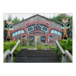 Clan house and totem poles, Ketchikan, Alaska Greeting Card