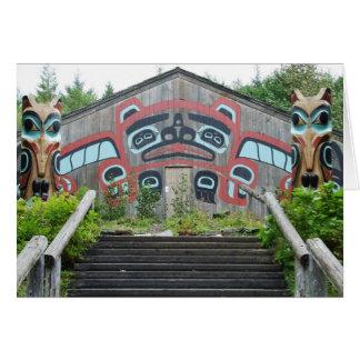 Clan house and totem poles, Ketchikan, Alaska Card