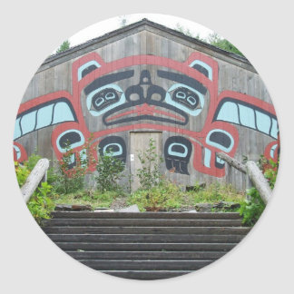 Clan house and totem poles, Ketchikan, Alaska Classic Round Sticker