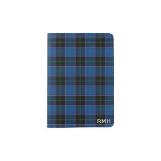 Clan Hume Royal Blue and Black Tartan Monogram Passport Holder