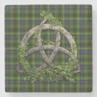 Clan Hunting Stewart Tartan Celtic Trinity Stone Beverage Coaster